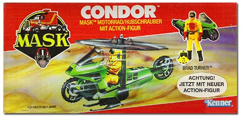 Kenner M.A.S.K. Condor German box second wave. Logo without missile launching. With Matt Trakker figure.