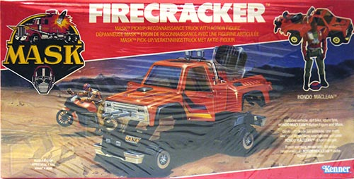 Kenner M.A.S.K. Firecracker EU box 1st wave. Logo with missile launching.