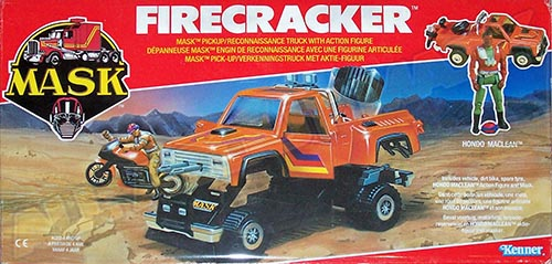 Kenner M.A.S.K. Firecracker EU box from the 2nd wave. Logo without missile launching.