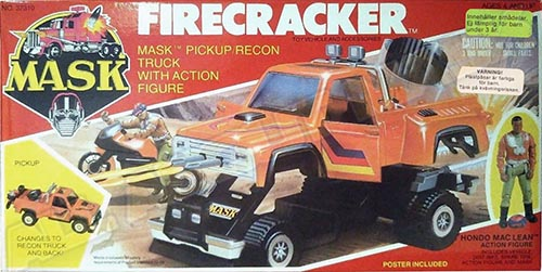 Kenner M.A.S.K. Firecracker Swedish box. The box is the US box of the 2nd Wave, with additional stickers with Swedish texts.