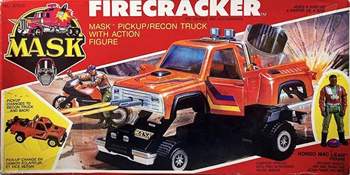 Kenner M.A.S.K. Firecracker Canadian Box. The box is the US box of the 2nd wave, with additional French texts.