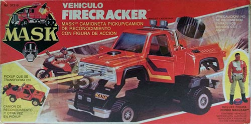 Kenner M.A.S.K. Firecracker PlayFul Argentine box, licensed product. Same box as the US box but with spanish texts.
