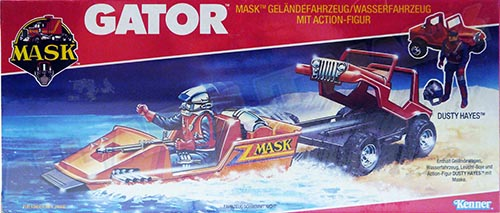 Kenner M.A.S.K. Gator German Box without the lasergun and missile launching in the logo