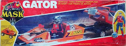 Kenner M.A.S.K. Gator Auriken Mexican box, licensed product. Same box as the US box but with spanish texts.