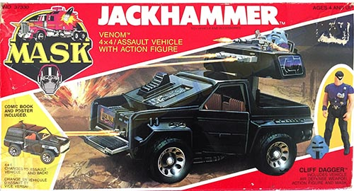 Kenner M.A.S.K. Jackhammer Canadian Box. The box is the US box of the 2nd wave, with additional French texts.