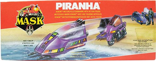 Kenner M.A.S.K. Piranha EU box first wave. Logo with missile launching.