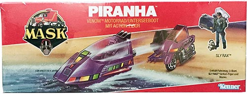 Kenner M.A.S.K. Piranha German box. Logo without missile launching.
