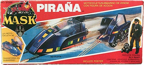 Kenner M.A.S.K. Piranha Auriken Mexican box, licensed product. Same box as the US box but with spanish texts.