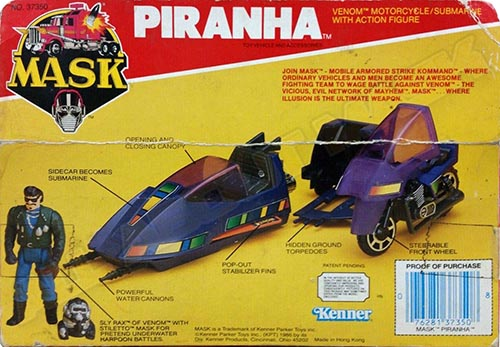 """Kenner M.A.S.K. Piranha US box second wave. Incl. the long mask and poster. For more details have a look to """"Differences US boxes first toyline"""""""