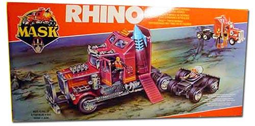 Kenner M.A.S.K. Rhino EU box first wave. Logo with missile launching. Toy has a missile.