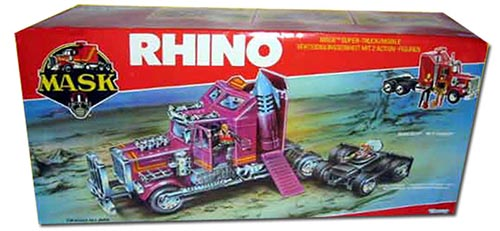 Kenner M.A.S.K. Rhino EU box second wave. Logo without missile launching. Toy has a missile.
