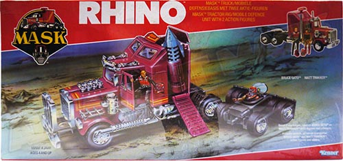 Kenner M.A.S.K. Rhino German box from the second wave. Logo without missile launching. Toy has a TV sat.