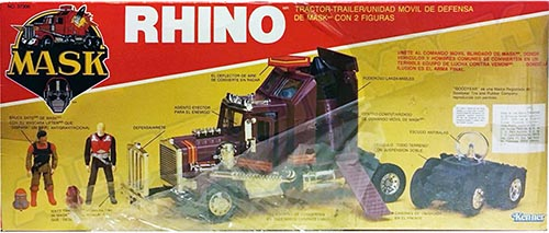 Kenner M.A.S.K. Rhino Auriken Mexican box, licensed product. Same box as the US box but with spanish texts.