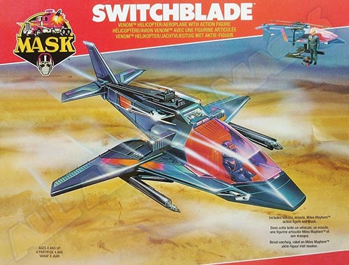 Kenner M.A.S.K. Switchblade EU box first wave. Logo with missile launching.