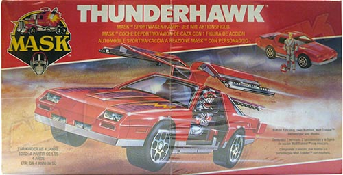 Kenner M.A.S.K. Thunderhawk EU box first wave. Logo with missile launching. Toy has 2 missle.