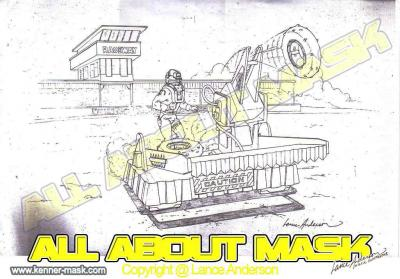 Concept pencil art for M.A.S.K PIT STOP CATAPULT package