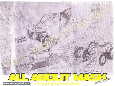 Concept pencil art for M.A.S.K RHINO package