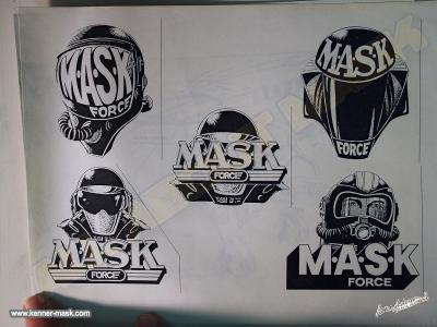 Different concept pencil arts of the early M.A.S.K FORCE logos
