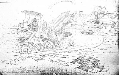 Concept pencil art for M.A.S.K GOLIATH package