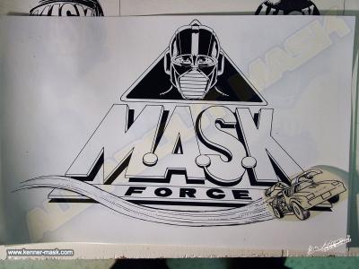 Concept pencil art of an early M.A.S.K FORCE logo