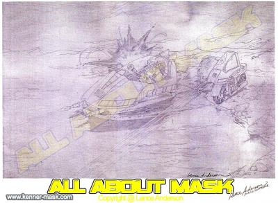 Concept pencil art for M.A.S.K PIRANHA package