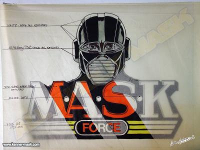 Concept pencil art of an early M.A.S.K FORCE logo colored