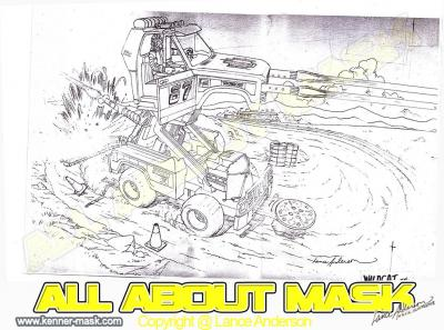 Concept pencil art for M.A.S.K WILDCAT package