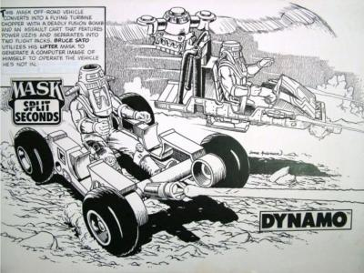 Concept pencil art of a M.A.S.K DYNAMO advertising