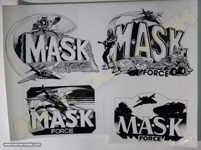 Different concept pencil art of the early M.A.S.K FORCE logos